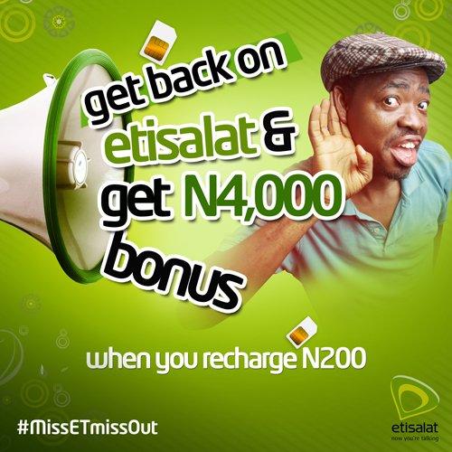 How to get N4,000 bonus airtime on Etisalat