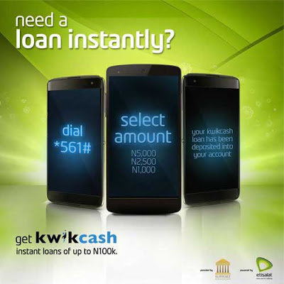 How to borrow physical cash from Etisalat on Kwikcash