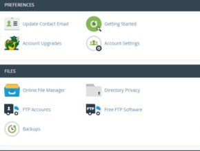 control panel for hosting
